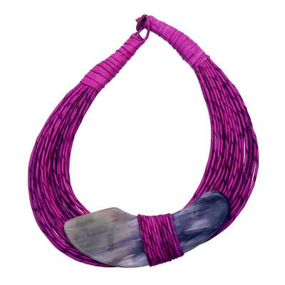 Horn pendant necklace, 'Zacsongo' - Boomerang Horn Pendant Magenta Leather Cord Necklace