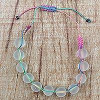 Recycled glass beaded bracelet, 'Beach Love' - Adjustable Recycled Glass Beaded Bracelet from Ghana