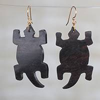 Ebony wood dangle earrings, 'Crocodile' - Ebony Wood Crocodile Dangle Earrings from Ghana