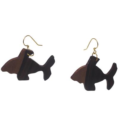 Ebony Wood Fish Dangle Earrings from Ghana