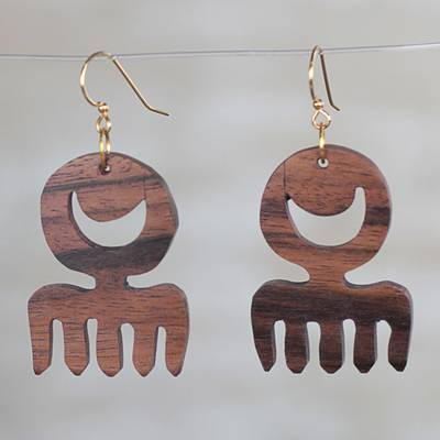 Ebony wood dangle earrings, 'Brown Comb' - Comb-Shaped Ebony Wood Dangle Earrings from Ghana