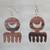 Ebony wood dangle earrings, 'Brown Comb' - Comb-Shaped Ebony Wood Dangle Earrings from Ghana thumbail