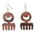 Ebony wood dangle earrings, 'Brown Comb' - Comb-Shaped Ebony Wood Dangle Earrings from Ghana (image 2a) thumbail