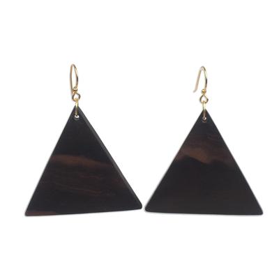 Ebony wood dangle earrings, 'Triangle Sophistication' - Triangular Ebony Wood Dangle Earrings from Ghana