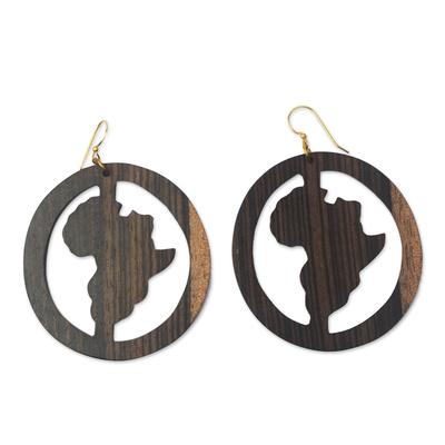 Africa-Themed Ebony Wood Dangle Earrings from Ghana