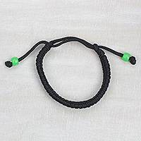 Braided cord bracelet, 'Green Pop' - Adjustable Braided Cord Bracelet from Ghana
