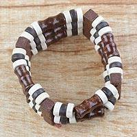 Wood beaded stretch bracelet, 'Royal Stripes' - Natural Sese Wood Striped Beaded Boho Stretch Bracelet