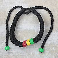 Beaded cord bracelet, 'Pop of Color' - Recycled Plastic Beaded Cord Bracelet from Ghana