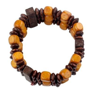 Beaded Natural Sese Wood Multi-Layered Stretch Bracelet