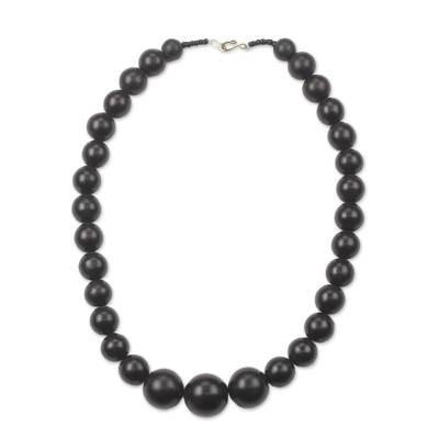 Ebony wood beaded necklace, 'Elegant Circle' - Black Ebony Wood Beaded Necklace from Ghana