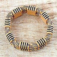 Recycled plastic beaded bracelet, 'Sensational Stripes' - Two Layer Recycled Plastic Beaded Striped Stretch Bracelet