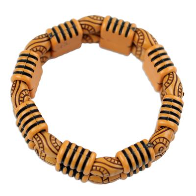 Recycled plastic beaded bracelet, 'Sensational Stripes' - Two Layer Recycled Plastic Beaded Striped Stretch Bracelet