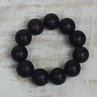 Ebony wood beaded stretch bracelet, 'Meditative Style' - Ebony Wood Beaded Stretch Bracelet Crafted in Ghana