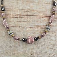 Ceramic and recycled glass beaded necklace, 'Ghanaian Beauty' - Handmade Ceramic and Recycled Glass Necklace from Ghana