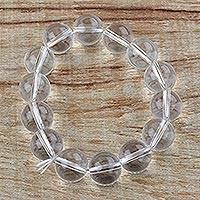 Recycled glass beaded bracelet, 'Clear Water' - Clear Water Recycled Round Glass Beaded Stretch Bracelet