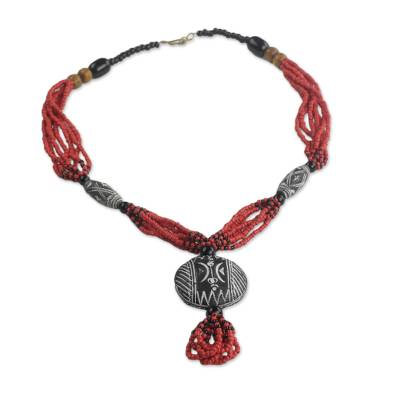 Ceramic and recycled glass beaded pendant necklace, 'Terracotta Dream' - Ceramic and Glass Beaded Pendant Necklace in Red from Ghana