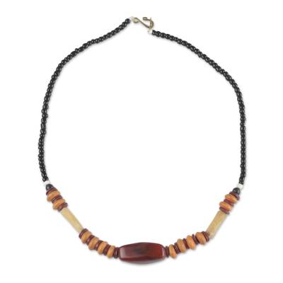 Agate and Recycled Glass Beaded Necklace from Ghana