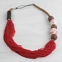 Glass beaded necklace, 'Cardinal Red Fascination' - Recycled Glass and Wood Beaded Necklace Crafted in Ghana