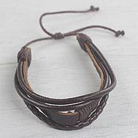Leather wristband bracelet, 'Mahogany Prosperity'