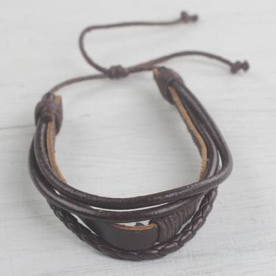Leather wristband bracelet, 'Mahogany Prosperity' - Adjustable Leather Wristband Bracelet in Mahogany from Ghana
