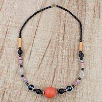 Recycled glass and plastic beaded necklace, 'Odo' - Recycled Plastic Disc and Glass Beaded Necklace of Ghana