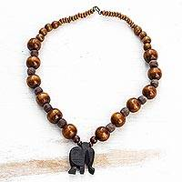 Glass beaded ebony wood pendant necklace, 'Shadow Elephant' - Glass Beaded Ebony Wood Elephant Pendant Necklace