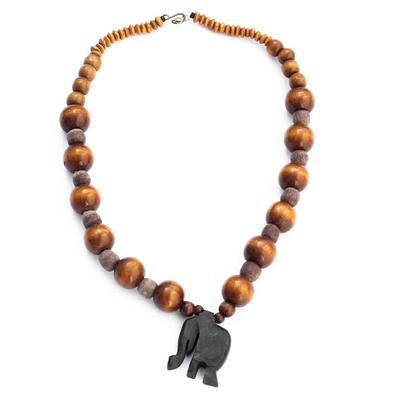 Glass Beaded Ebony Wood Elephant Pendant Necklace