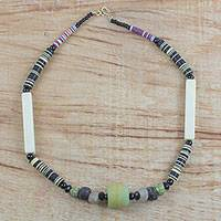Recycled glass beaded necklace, 'Queenly Beauty' - Colorful Recycled Glass Beaded Necklace from Ghana