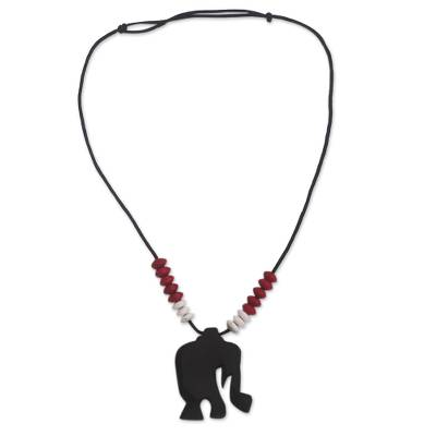 Ebony wood beaded pendant necklace, 'Rustic Elephant' - Ebony Wood Elephant Beaded Pendant Necklace from Ghana