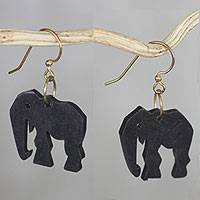 Ebony dangle earrings, 'Elephant Glamour'