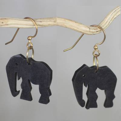 Ebony dangle earrings, 'Elephant Glamour' - Handmade Ebony Wood Elephant Dangle Earrings from Ghana