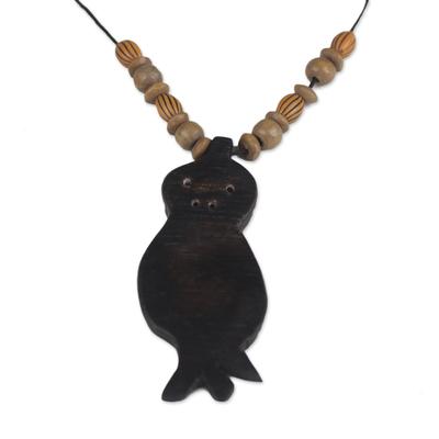 Handmade Wood Beaded Pendant Owl Necklace from Ghana
