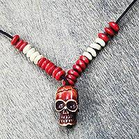 Wood beaded pendant necklace, 'Adventurous Skull' - Sese Wood Skull Beaded Pendant Necklace from Ghana