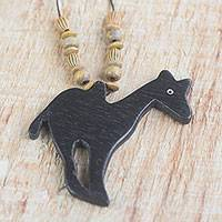 Wood pendant necklace, 'Wild Giraffe' - Handmade Wood Beaded Pendant Giraffe Necklace from Ghana