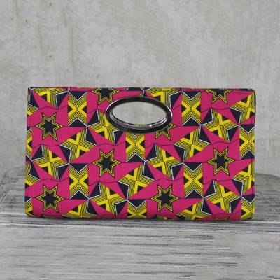 Cotton clutch handbag, 'Starry Delight' - Handmade Pink and Yellow Star Cotton Clutch Bag from Ghana