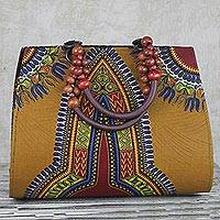 Cotton handle handbag, 'Dashiki Delight' - Handmade 100% Cotton Dashiki Style Handle Handbag from Ghana
