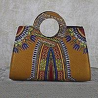 Cotton handbag, 'Floral Dashiki' - Handmade 100% Cotton Dashiki Style Handle Handbag from Ghana