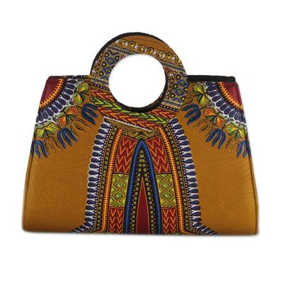 Novica Cotton handbag, Floral Dashiki