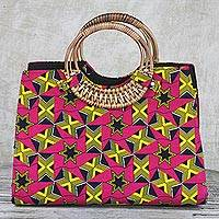 Cotton handle handbag, 'Vivacity' - Handmade Ghanaian 100% Cotton Geometric Star Handle Handbag