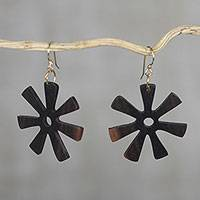 Ebony dangle earrings, 'Fofoo Flower'