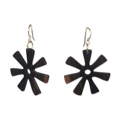 Ebony dangle earrings, 'Fofoo Flower' - Ebony Wood Adinkra Flower Dangle Earrings from Ghana