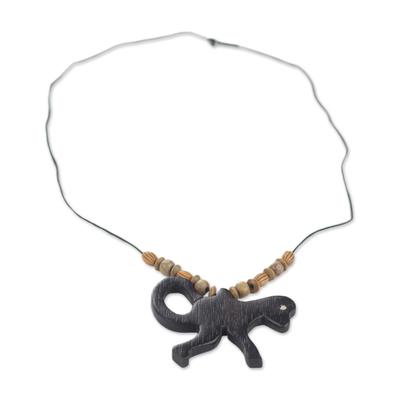 Handmade Wood Beaded Pendant Monkey Necklace from Ghana
