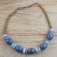 Glass beaded necklace, 'Kind Soul' - Recycled Glass Beaded Necklace Handcrafted in Ghana