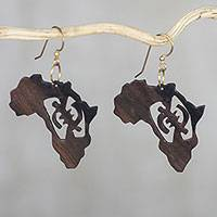 Ebony dangle earrings, 'Adinkra Africa' - Handmade Ebony Wood Africa Map Dangle Earrings from Ghana