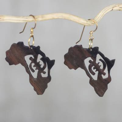 Novica Ebony dangle earrings, Adinkra Africa