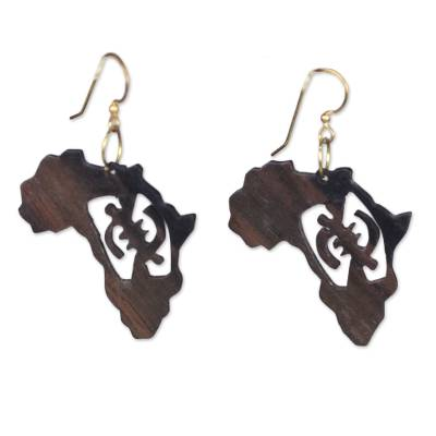 Ebony dangle earrings, 'Adinkra Africa' - Handmade Ebony Wood Africa Map Dangle Earrings from Ghana