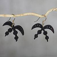 Ebony dangle earrings, 'Akofena Adinkra' - Handmade Ebony Wood Adinkra Dangle Earrings from Ghana