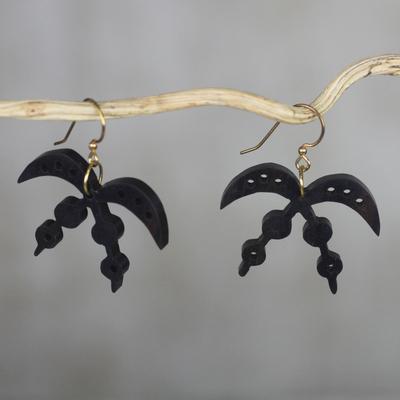 Ebony dangle earrings, 'Akofena Adinkra' - Handmade Ebony Wood Adinkra Dangle Earrings from Ghana