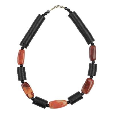 African Agate and Recycled Glass and Plastic Beaded Necklace