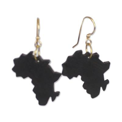 Ebony dangle earrings, 'Africa Atlas' - Handmade Ebony Wood Africa Map Dangle Earrings from Ghana